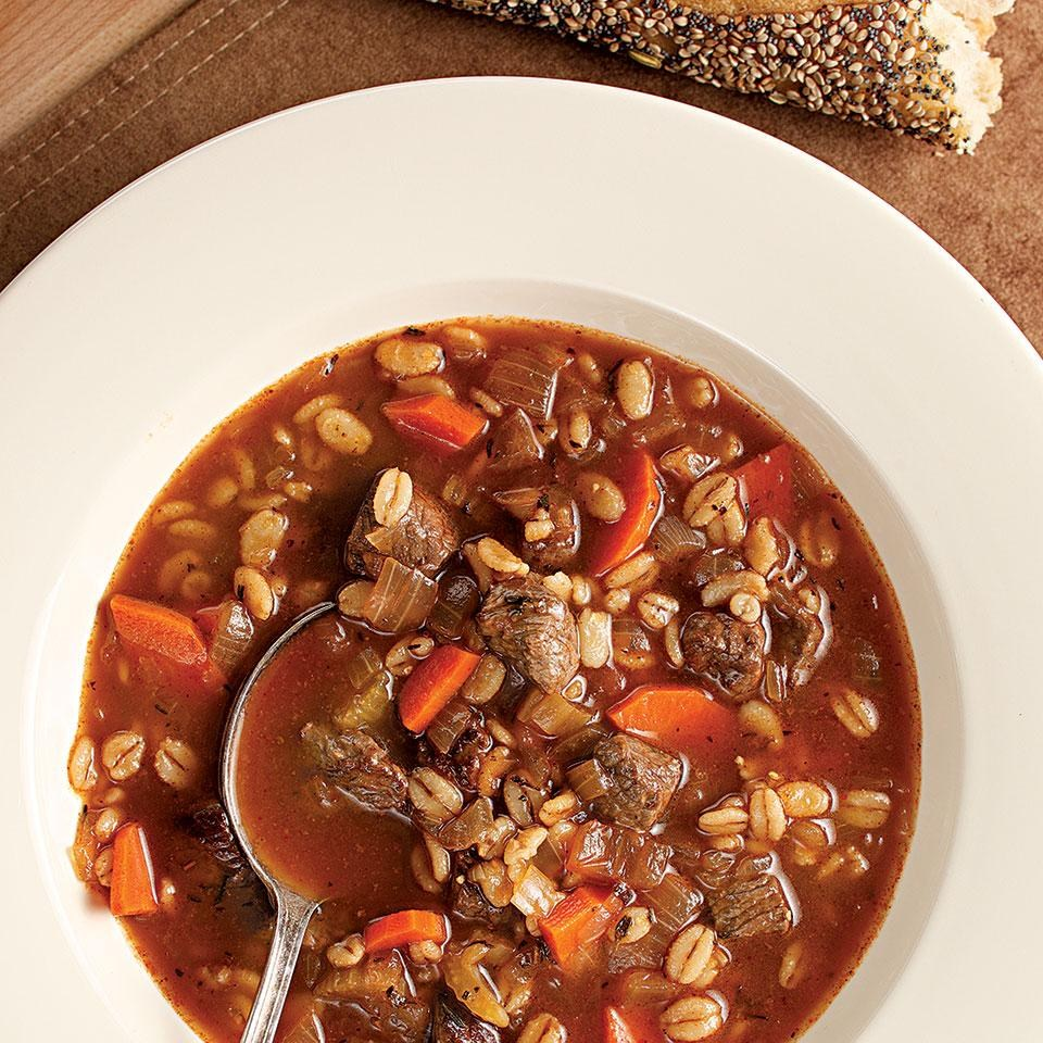 Bison barley soup in a bowl