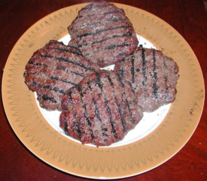 Bison burgers after cooking are the same size